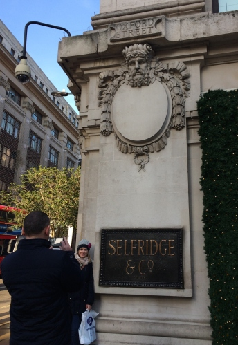 Posing outside Selfridges, where fashion and class come together on Oxford Street.