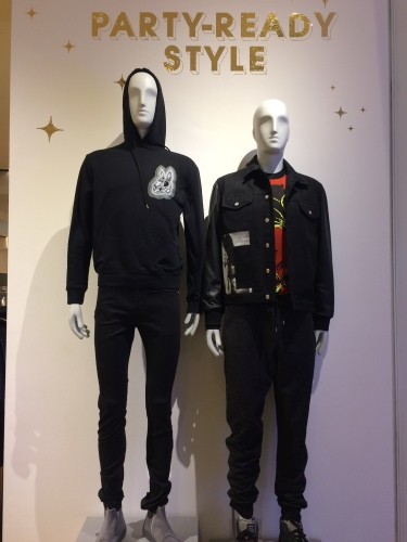 Greeting us at the Men's Department at Selfridges: Party-Ready Style!