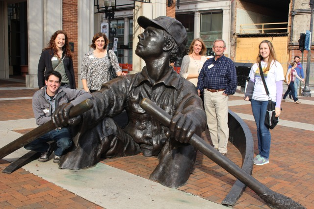 """Gathering around the """"Rowing Man,"""" ready for the Chef's Table Tour in Knoxville"""