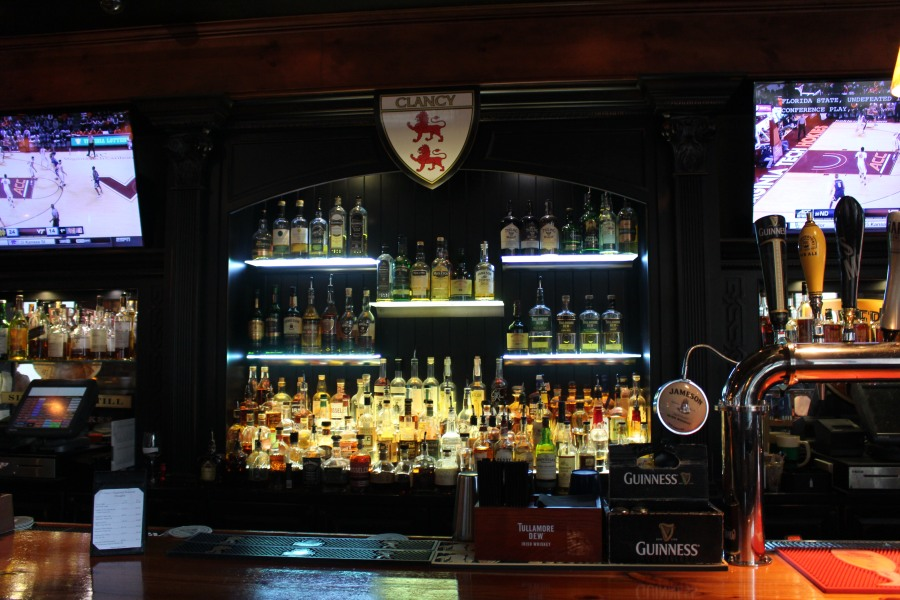 The glow of a well-stocked bar at Clancy's.