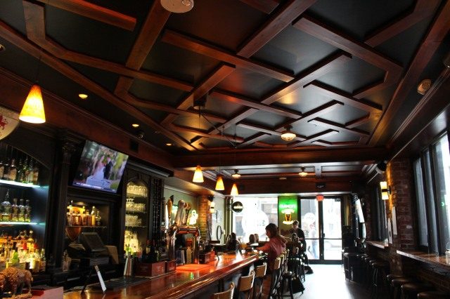 The richness of handcrafted ceilings by Art Clancy at Clancy's Tavern in Knoxville