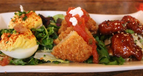 Deviled Eggs, Fried Green Tomatoes, and Uptown Shrimp at FIVE Knoxville
