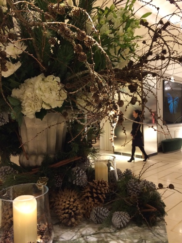Elegant seasonal arrangement in main lobby.