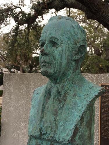 Bust of Charles E. Fraser, developer of Hilton Head Island, under live oak he preserved.