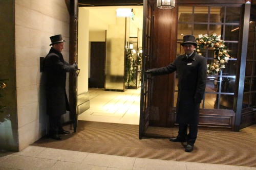 Welcoming committee of two -- Grosvenor House