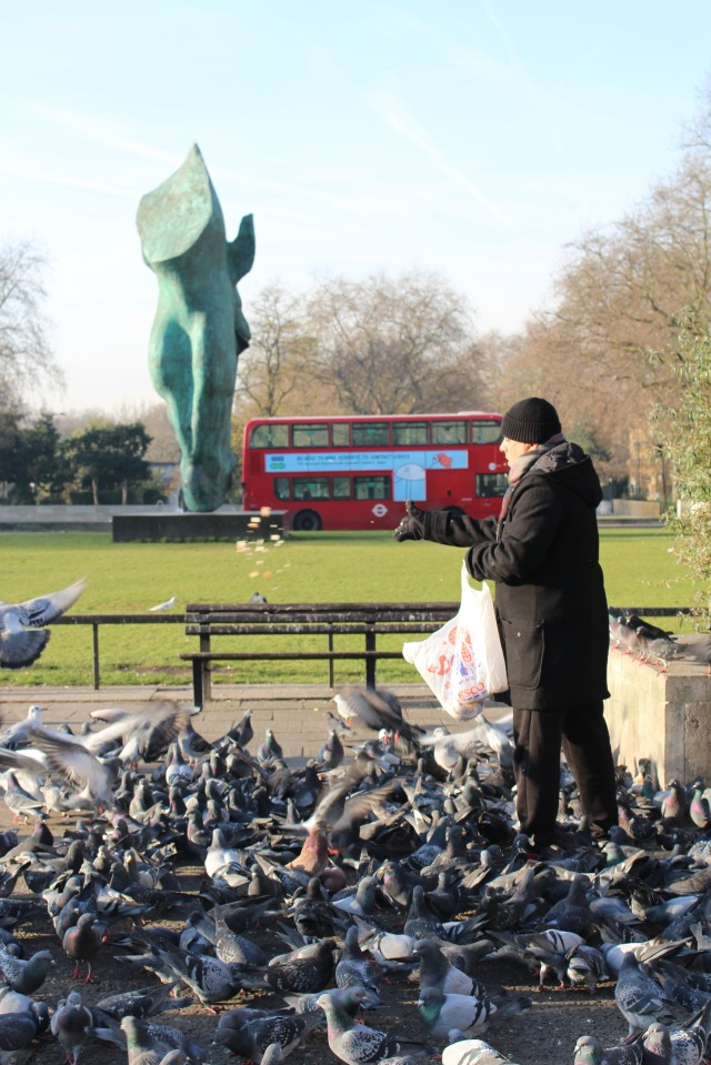 Feeding the birds at Marble Arch