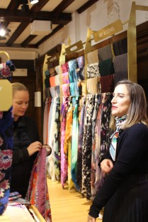 Shopping for scarves in Liberty