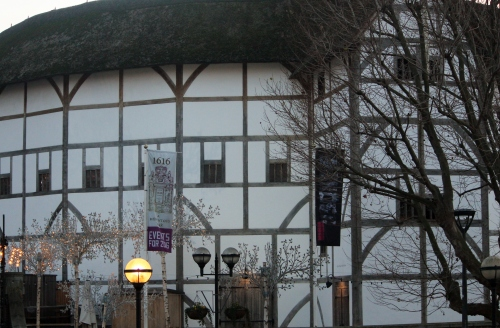 Shakespeare's Globe at sundown as seen from the Thames River