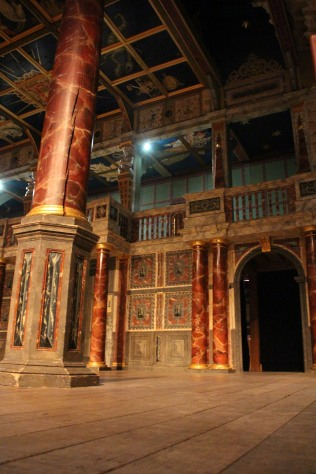 Details of painting on stage of Globe Theatre