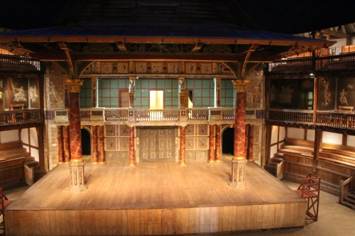 Stage of Shakespeare's Globe can serve as an interior or exterior setting with one or two levels.