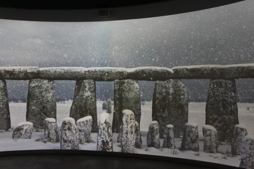 Video shown at Stonehenge Visitor Center capturing a snowy day
