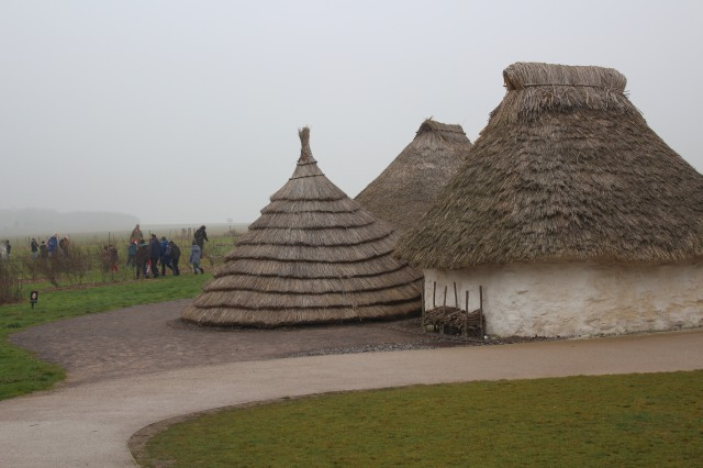 Neolithic huts on display at Stonehenge
