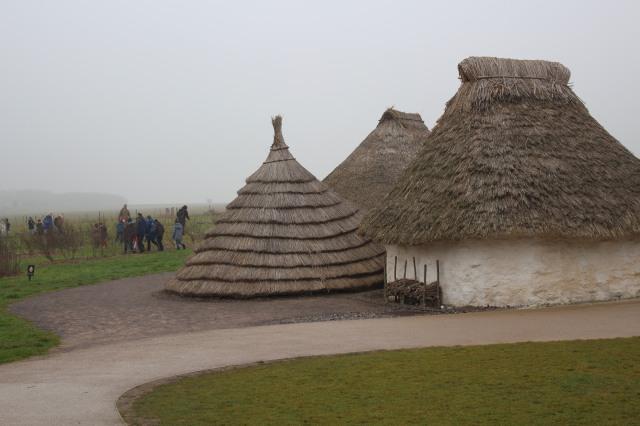 Neolithic huts on display at Stonehenge