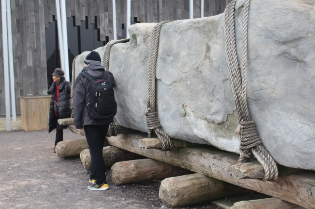 Demonstration of how stones might have been moved to site of Stonehenge