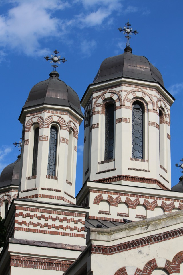 Two towers adorn a Bucharest church.