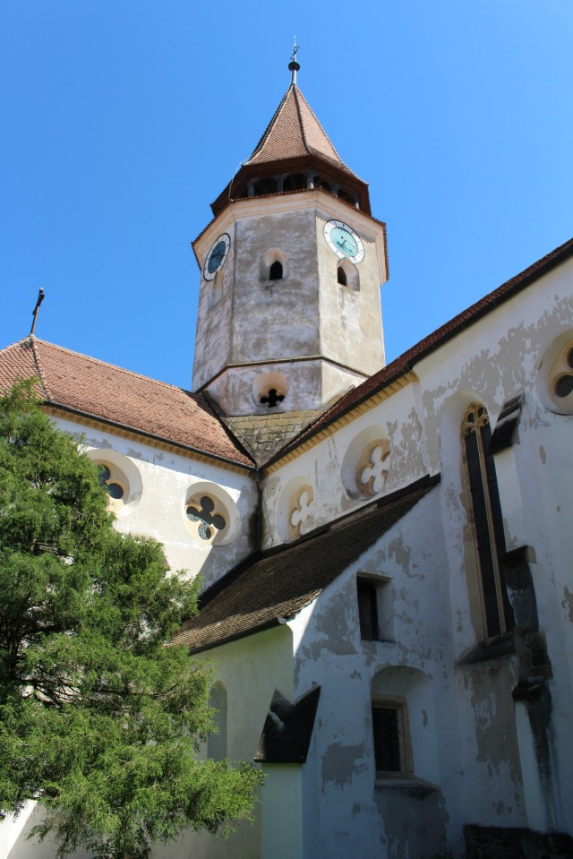 Looking up at the top of Prejmer fortified church in Transylvania, Romania.