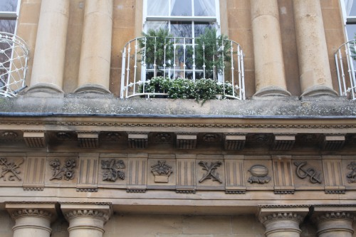 Architectural detail below a second-story window at The Circus in Bath.
