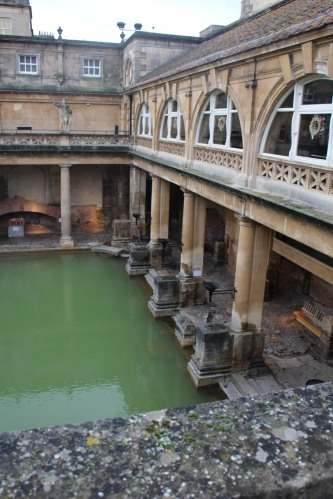 The 2,000-year-old Roman Baths, restored and open for touring in Bath, England.
