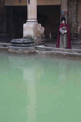 Dressed as a Roman, lady tells visitors of life at the Roman Baths 2,000 years ago