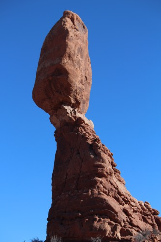 Standing near the base of Balanced rock, Arches National Park
