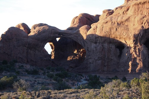 Early afternoon view of Double Arch, Arches National Park