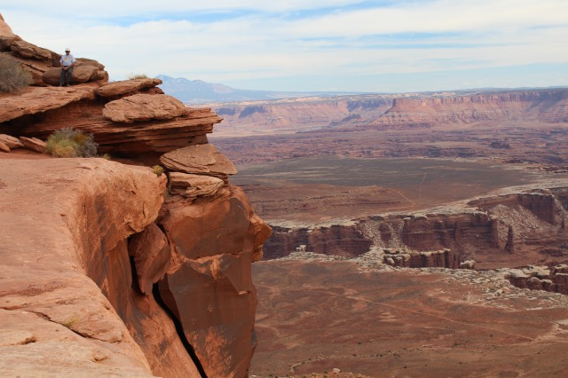 Looking out and down at Grand View Point, Canyonlands