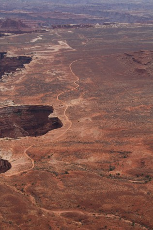 Old trails remain near Monument Basin, Canyonlands.