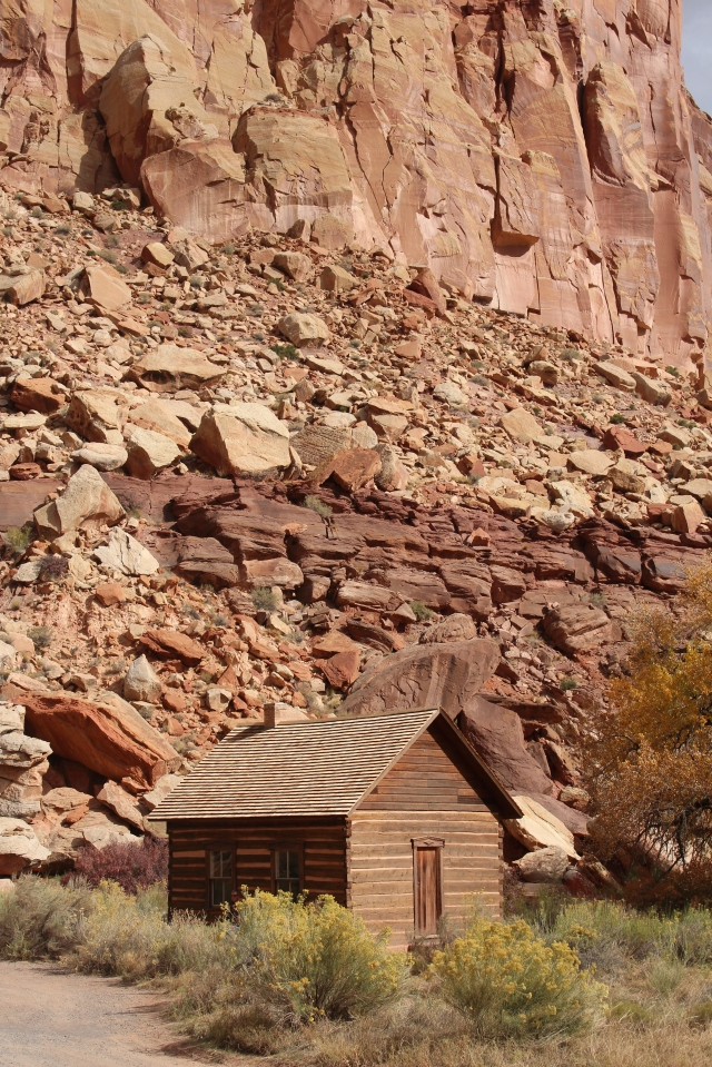 Blending in with the landscape, the Fruita schoolhouse