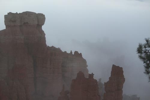 Fog lifting over Bryce Canyon