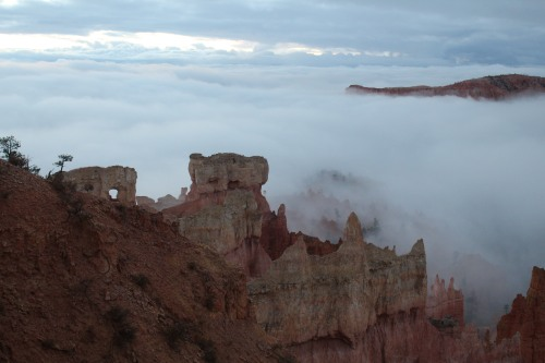 Looming large, structures take shape as visibility improves at Bryce.