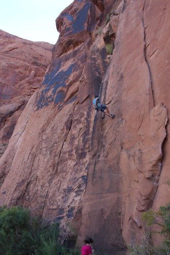 Rock climber on Wall Street -- area of Potash Road, Utah