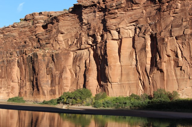 Red sandstone cliffs along Potash, Lower Colorado River Scenic Byway, Utah