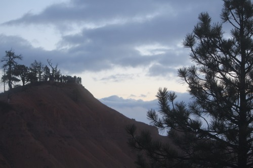 People gathering at Sunrise Point to watch the sun come up over Bryce