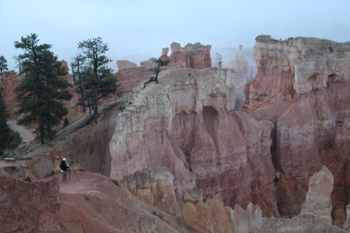 A lone photographer focuses on the unique structures at Bryce.