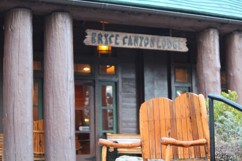 Rustic exterior of Bryce Canyon Lodge