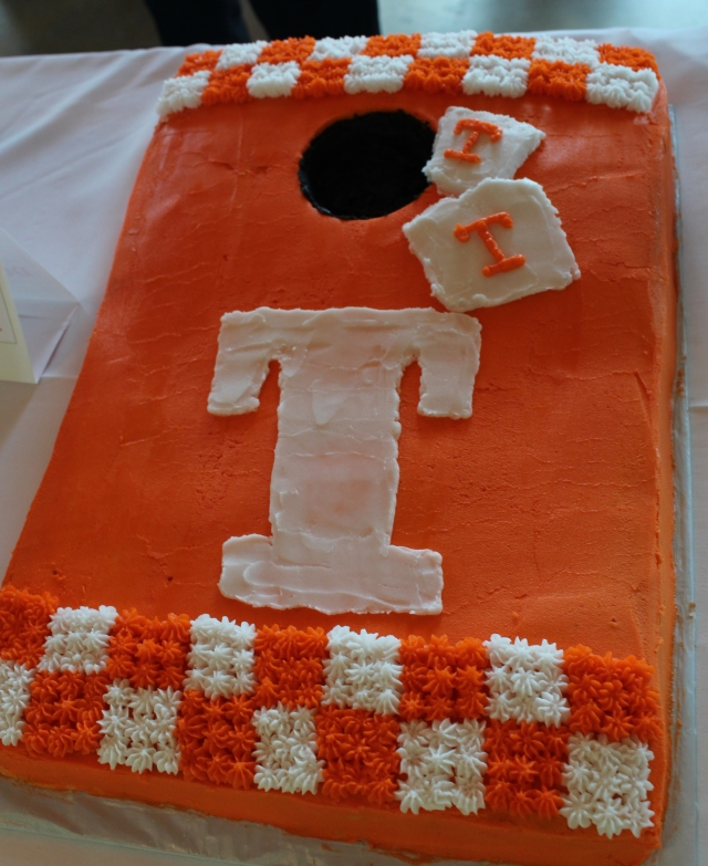 This is one fun UT cake shaped like a corn hole game!