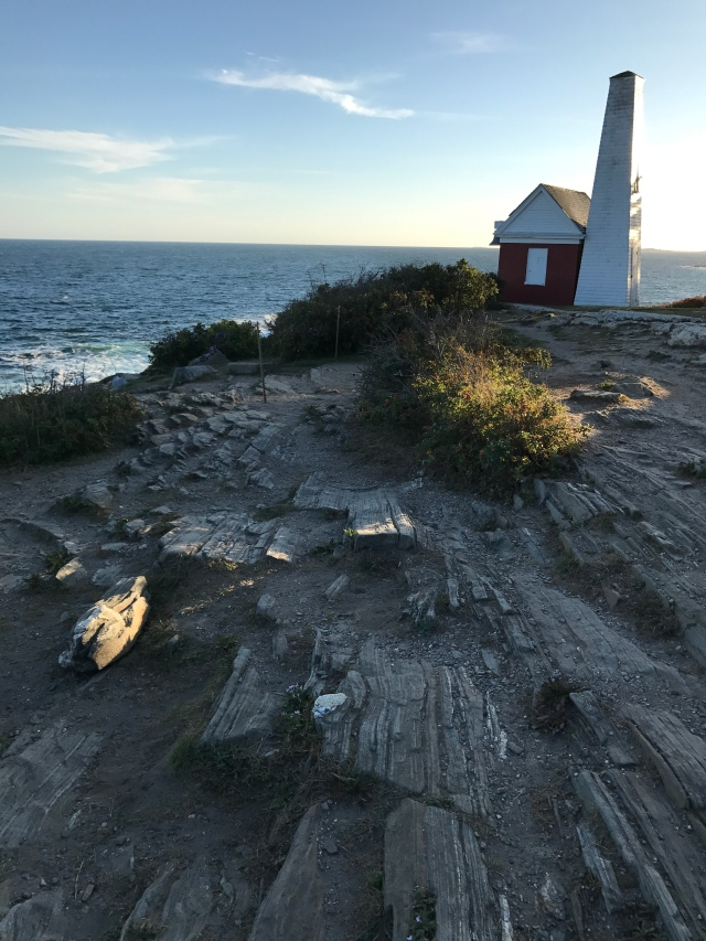 Rocky promontory at Pemaquid Point Lighthouse