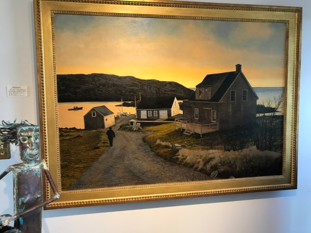 "Monhegan Landing, Sunset by Peter Sculthorpe, oil 36"" by 50"""