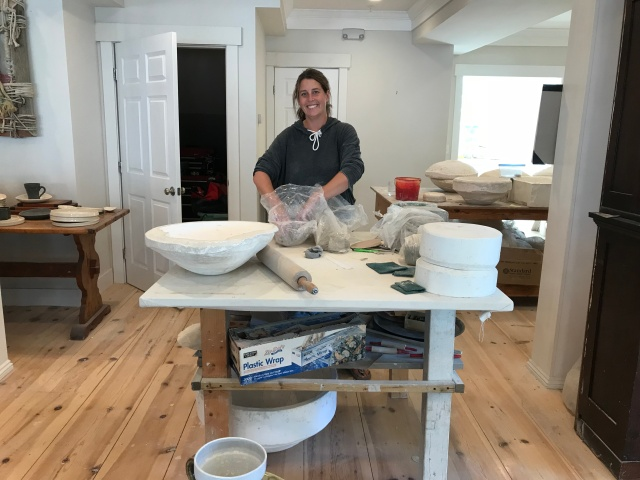 Alison Evans at work at Ae Home in Boothbay Harbor