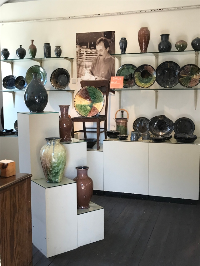 Airy displays give space to each important work at Edgecomb Pottery