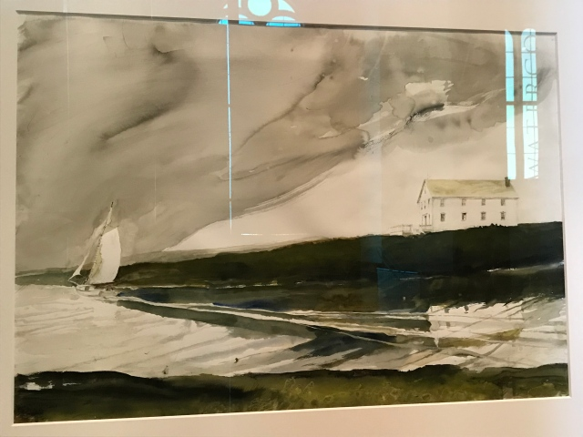 A study for Wyeth's last painting depicting a house on Allen Island.  To the left, a Friendship sloop named for the town in which it was made -- Friendship, Maine.  To the right, a large house called a sail loft because it has an open interior large enough for the making of sails. Watercolor and pencil on paper