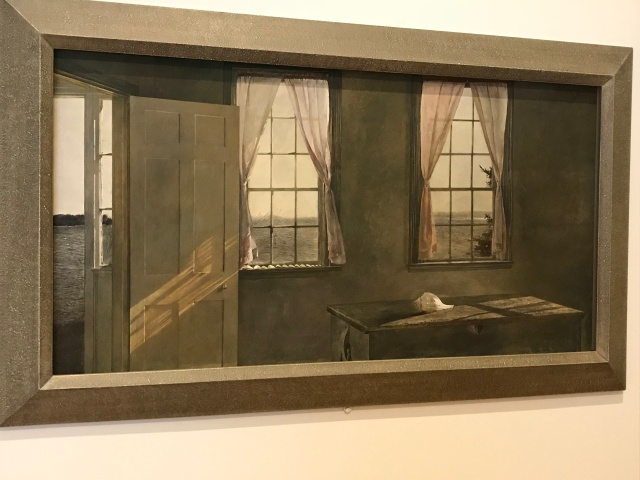 Remembering a summer day at their Broad Cove home in Cushing, Wyeth captures the light of an eclipse streaming through a room of the house. Tempera on panel.