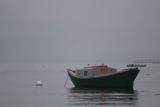 Lone boat in harbor at Searsport, Maine
