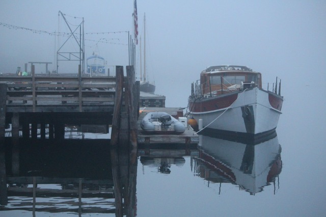 The view from Acadia Dock in Castine, Maine on an unexpectedly foggy morning.