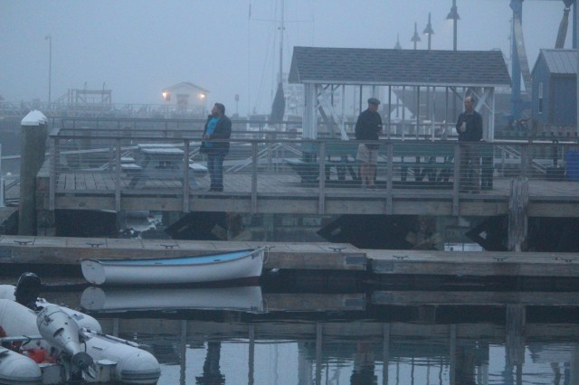 Each morning, a group of guys meets at the dock in Castine to greet the sunrise -- or, in this case, the morning fog.