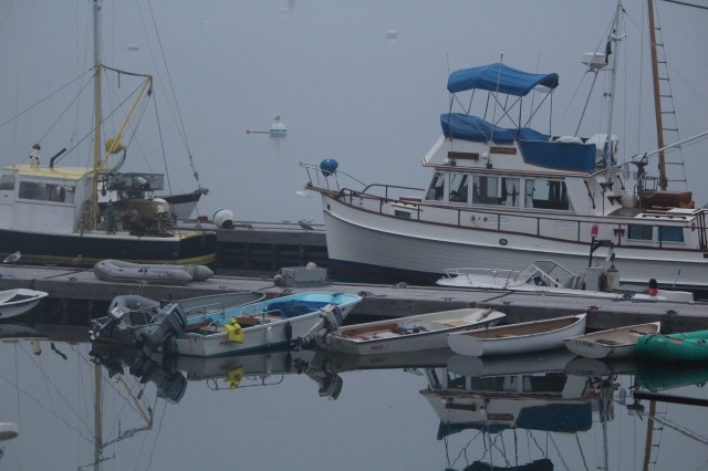Waiting to launch: boats at Castine.