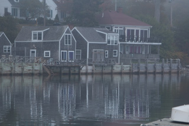 Houses along Castine's waterfront as seen from the Yacht Club dock.