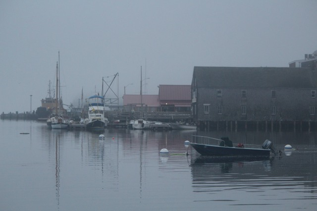 The view from Castine Yacht Club of Acadia Dock enshrouded in fog.