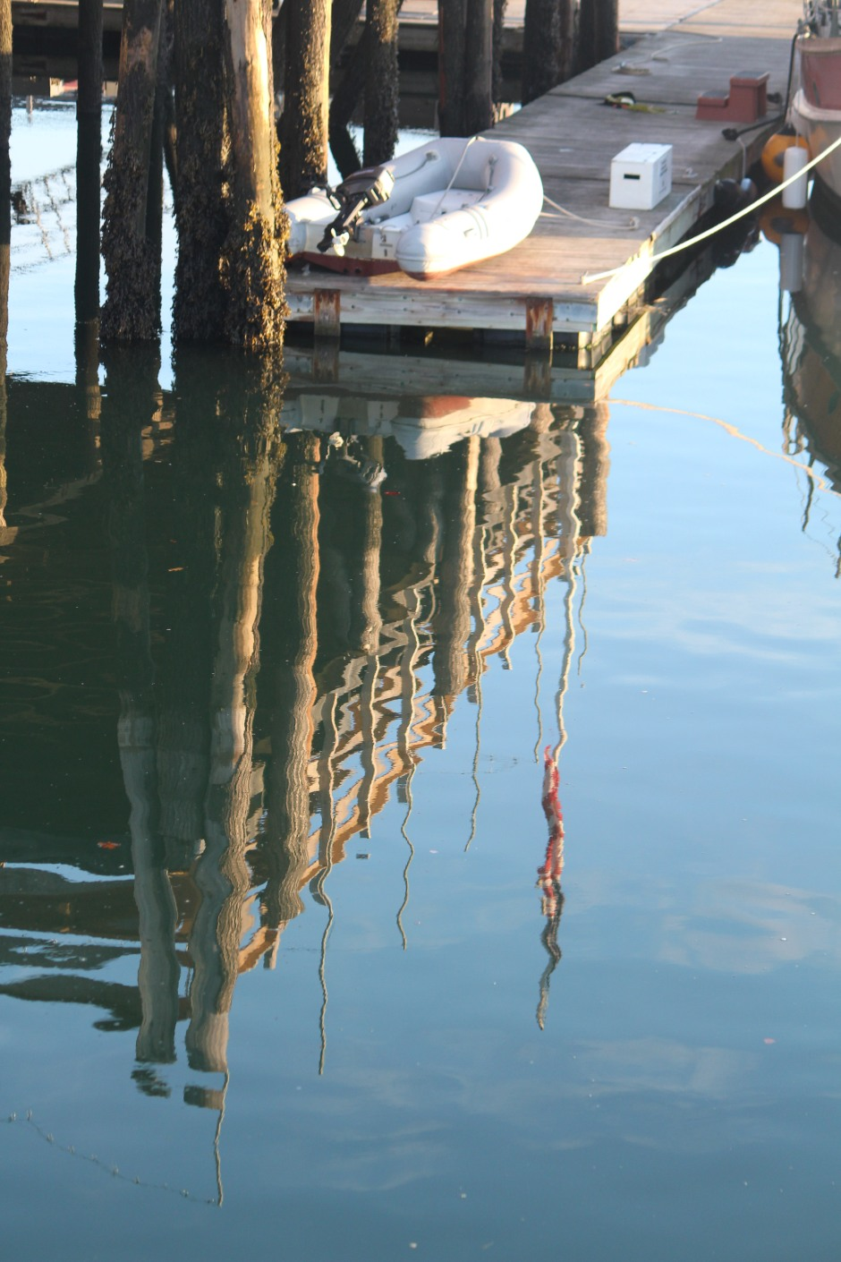 A reflection at the waterfront in Castine, Maine offers a glimpse of morning light on still water.