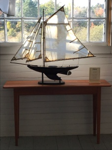 Sailboat on a finely crafted side table